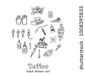 tattoo hand drawn doodle set.... | Shutterstock .eps vector #1008395833