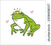 cute cartoon frog character.... | Shutterstock .eps vector #1008408037