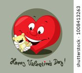 valentines heart with teddy... | Shutterstock .eps vector #1008413263