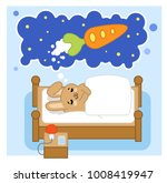 brown bunny dreaming of huge... | Shutterstock .eps vector #1008419947