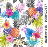 tropical seamless pattern with... | Shutterstock .eps vector #1008420637