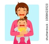 young mother crying while...   Shutterstock .eps vector #1008423523