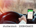 smartphone in a car use for... | Shutterstock . vector #1008436603