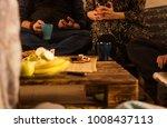 friends having vegetarian and... | Shutterstock . vector #1008437113