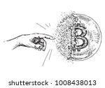 hand drawn bitcoin sign like...   Shutterstock .eps vector #1008438013