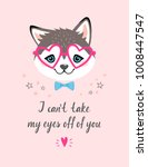valentine's card of a cute... | Shutterstock .eps vector #1008447547