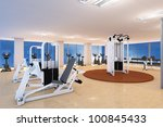 empty fitness center with... | Shutterstock . vector #100845433