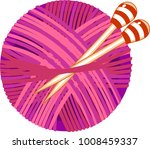 pink yarn ball with knitting... | Shutterstock .eps vector #1008459337