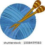 blue yarn ball with knitting... | Shutterstock .eps vector #1008459583