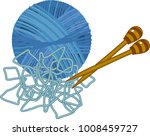 blue yarn ball with knitting... | Shutterstock .eps vector #1008459727