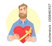 man gives heart. gift giving... | Shutterstock .eps vector #1008481927