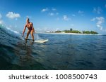 happy surfer rides the ocean... | Shutterstock . vector #1008500743