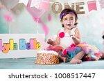 baby girl cake smash | Shutterstock . vector #1008517447