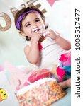 baby girl cake smash | Shutterstock . vector #1008517477
