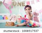 baby girl cake smash | Shutterstock . vector #1008517537