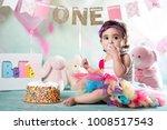 baby girl cake smash | Shutterstock . vector #1008517543