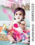 baby girl cake smash | Shutterstock . vector #1008531223