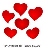 red hearts set - stock vector