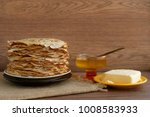pancakes on sacking. maslenitsa....   Shutterstock . vector #1008583933