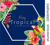 beautiful tropical frame with... | Shutterstock .eps vector #1008596893