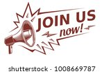 join us   advertising sign with ... | Shutterstock .eps vector #1008669787
