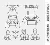 drone pilot holding remot... | Shutterstock .eps vector #1008684037