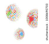 set of abstract round 3d... | Shutterstock .eps vector #1008690703