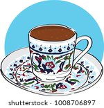 turkish coffee or greek coffee... | Shutterstock .eps vector #1008706897