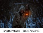 old man with the scythe induces ... | Shutterstock . vector #1008709843