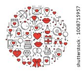 circle with love symbols in... | Shutterstock .eps vector #1008715957