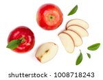 red apples with slices and... | Shutterstock . vector #1008718243