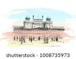 sketch of red fort unesco world ... | Shutterstock .eps vector #1008735973