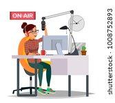 radio dj woman vector.... | Shutterstock .eps vector #1008752893