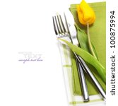 spring table settings with fresh tulip  (with easy removable text ) - stock photo