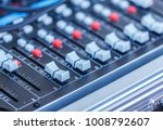 sound mixer control faders on a ... | Shutterstock . vector #1008792607