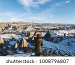 woman on breathtaking view of... | Shutterstock . vector #1008796807