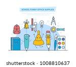 school funny office supplies... | Shutterstock .eps vector #1008810637