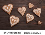 gingerbread hearts decorated... | Shutterstock . vector #1008836023