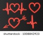 neon red heart.  light effect... | Shutterstock .eps vector #1008842923