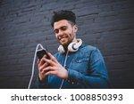 smiling bearded hipster guy...   Shutterstock . vector #1008850393