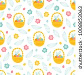 easter seamless pattern with... | Shutterstock .eps vector #1008853063