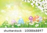 vector easter eggs in grass ... | Shutterstock .eps vector #1008868897