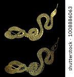 golden snake cobra tattoo.hand...   Shutterstock .eps vector #1008886063