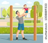 little boy with fathers... | Shutterstock .eps vector #1008889333