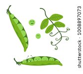 cartoon pea set. cute smiling... | Shutterstock .eps vector #1008897073