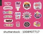set of contemporary girlie love ... | Shutterstock .eps vector #1008907717