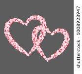 heart shape of sakura petals... | Shutterstock .eps vector #1008923947