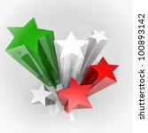 Six stars with Italy colours flag, 3D image - stock photo