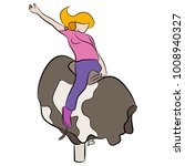 an image of a girl riding a... | Shutterstock .eps vector #1008940327