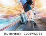 traveler man holding a suitcase ...   Shutterstock . vector #1008942793